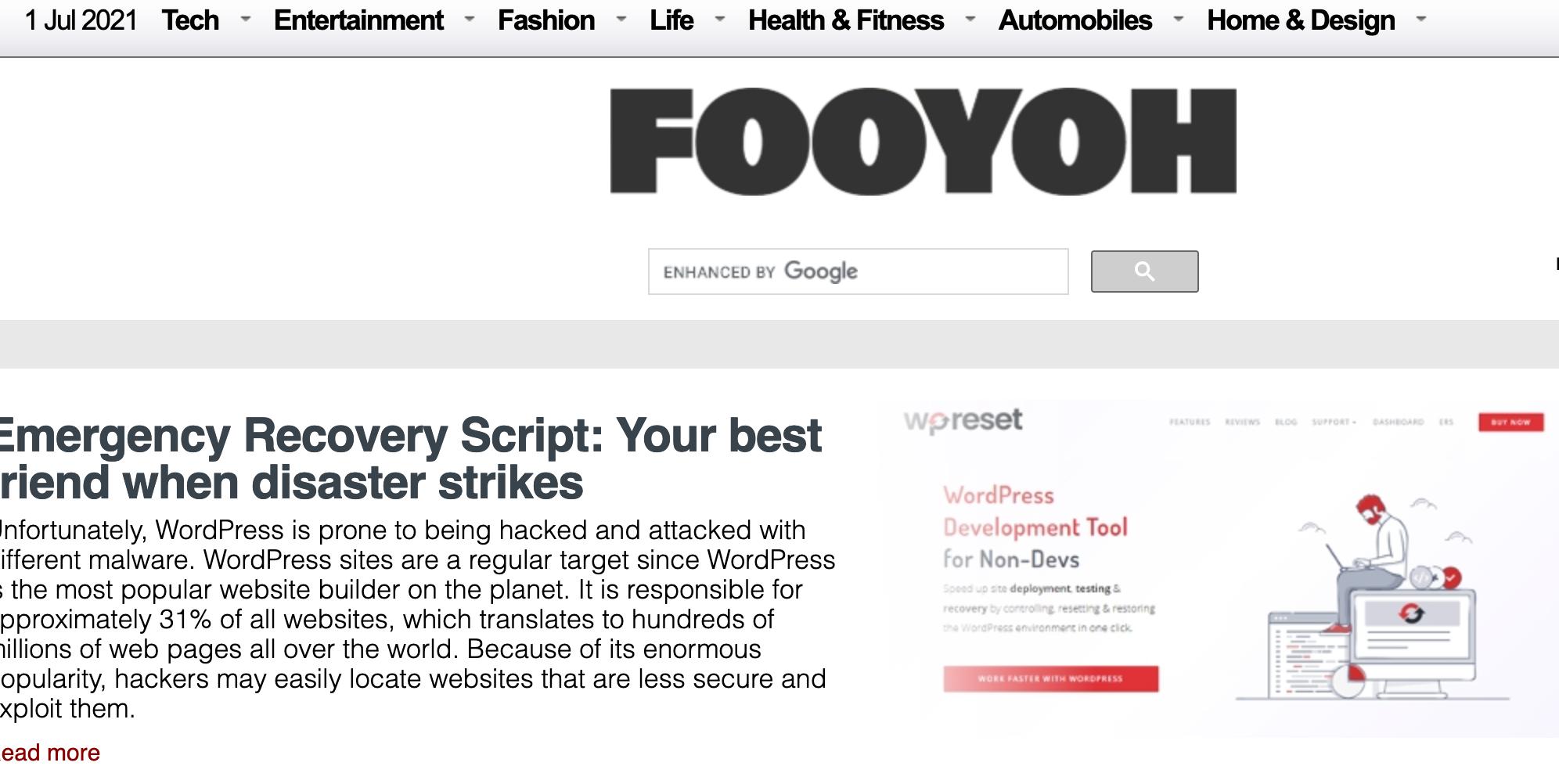 Write and Publish Guest Post on Fooyoh. com DA63,  DR60 & Organic Traffic- 9.4K