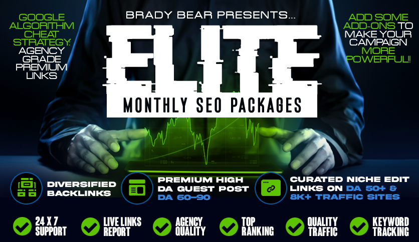 ELITE Monthly SEO Package for Google Top Ranking