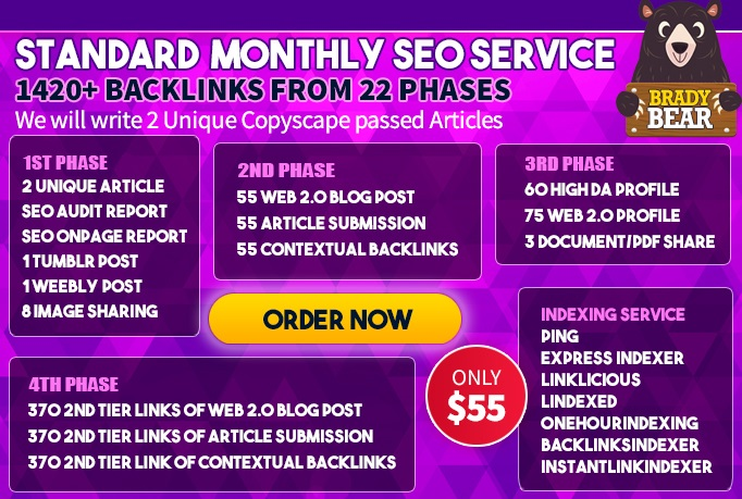 High Quality Backlinks,  Standard Monthly SEO Service