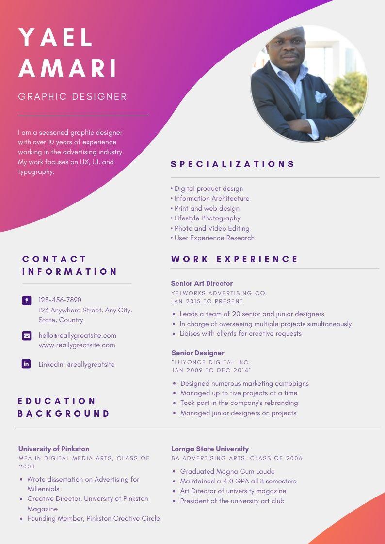 design pro and genuine CV infographic