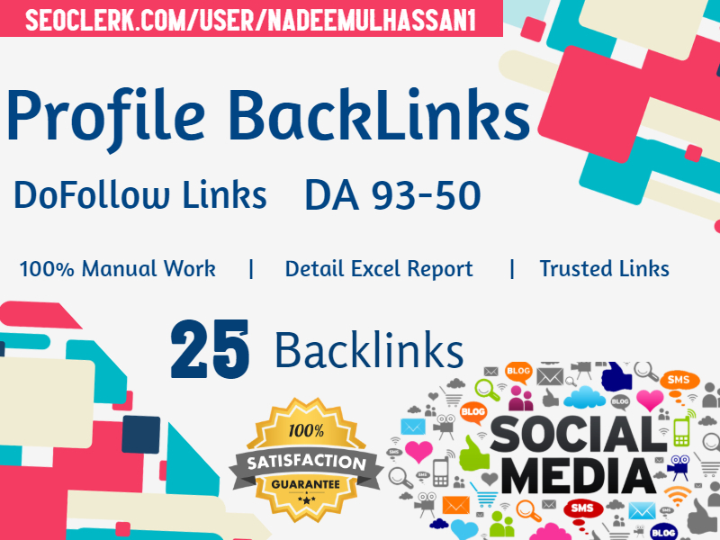 Manually Submit 25 High Authority Dofollow Profile Backlinks