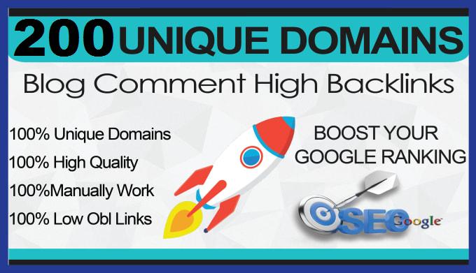 I will provide 200 unique domains dofollow blog comments SEO backlinks high da
