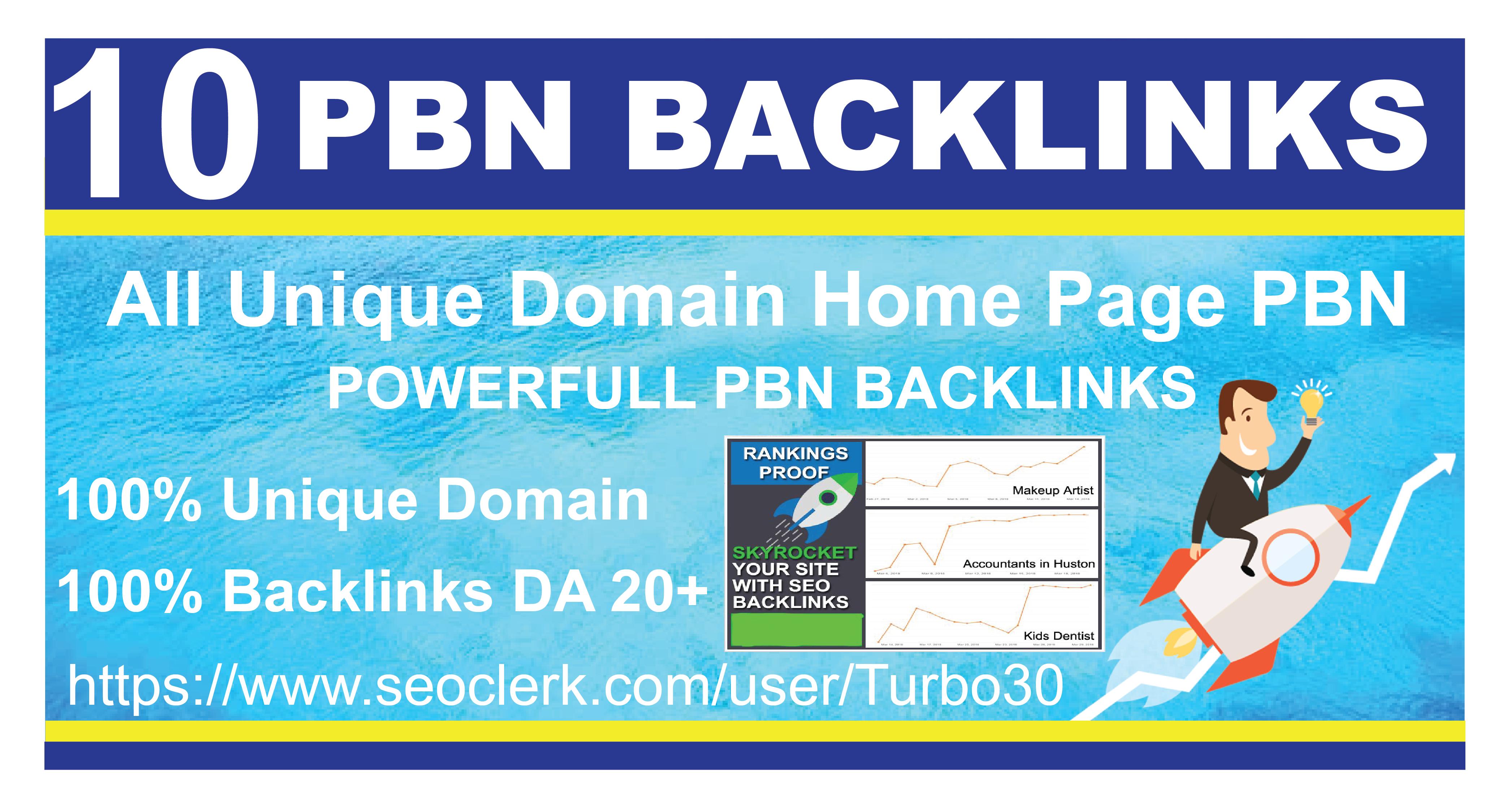 I will do 10 home page PBN Backlinks DA 20+