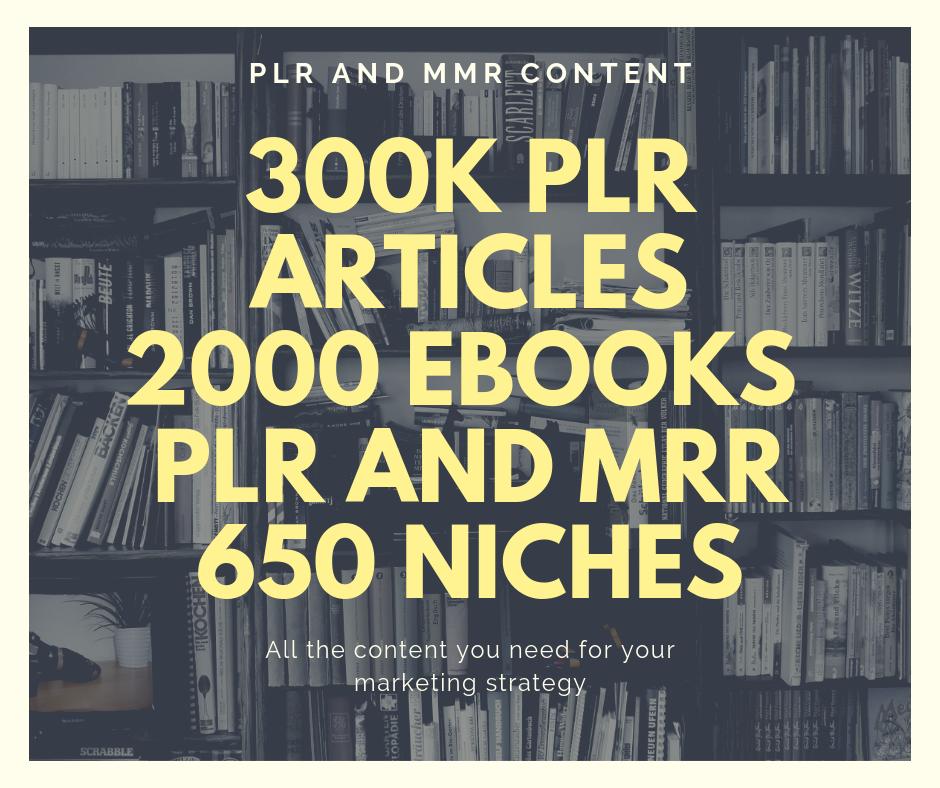 Offer you 300k articles PLR 2000 MMR ebooks