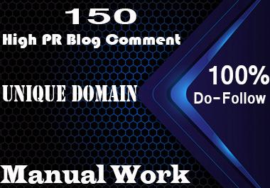 DO 150 unique domain dofollow blog comments backlinks DA PA