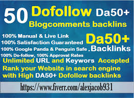 50 Dofollow blog comment Backlinks with DA 50 plus
