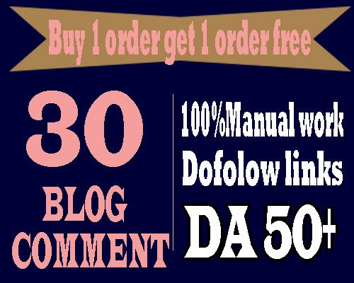30 Dofollow blog comment Backlinks with DA 50 plus