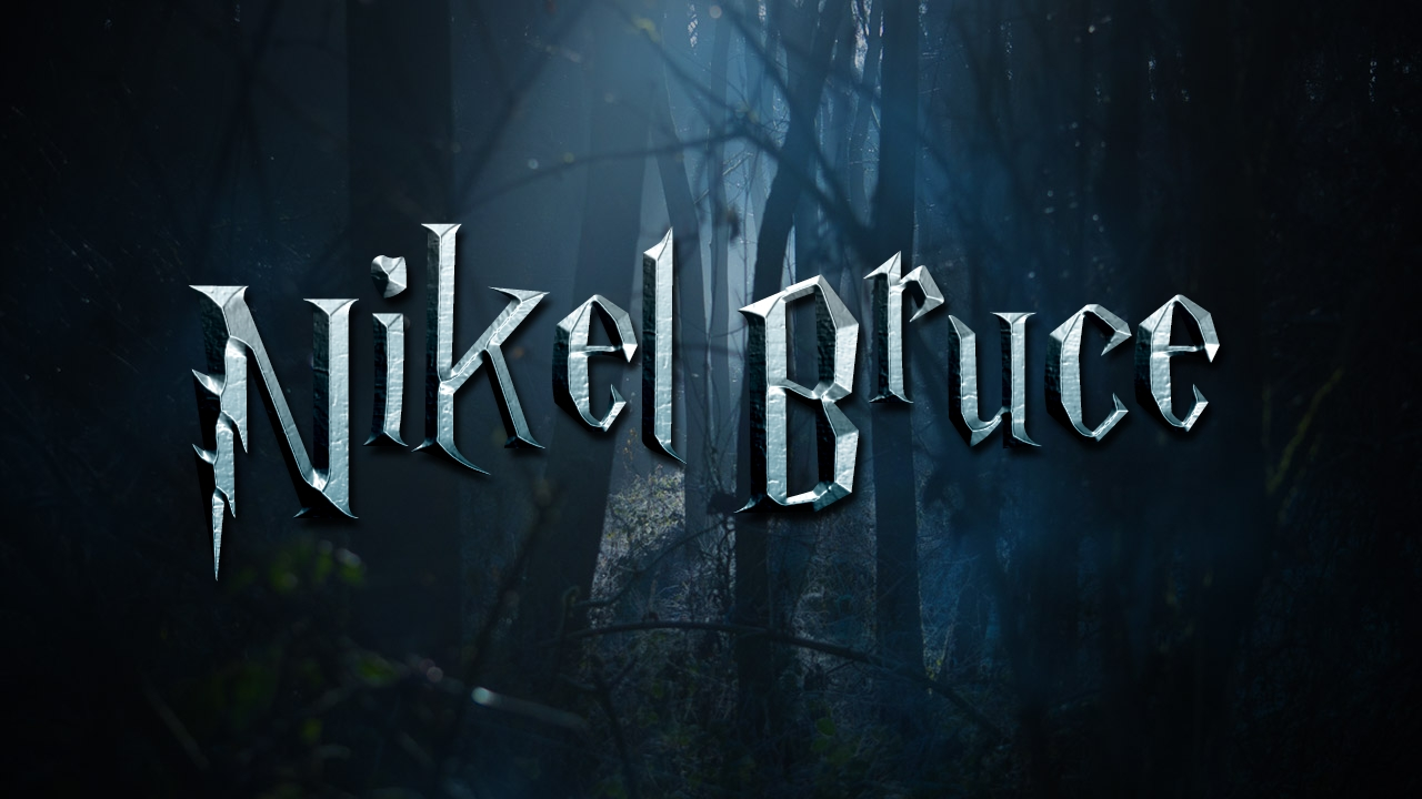 I will create one given name in cinematic wizard text with dark forest background