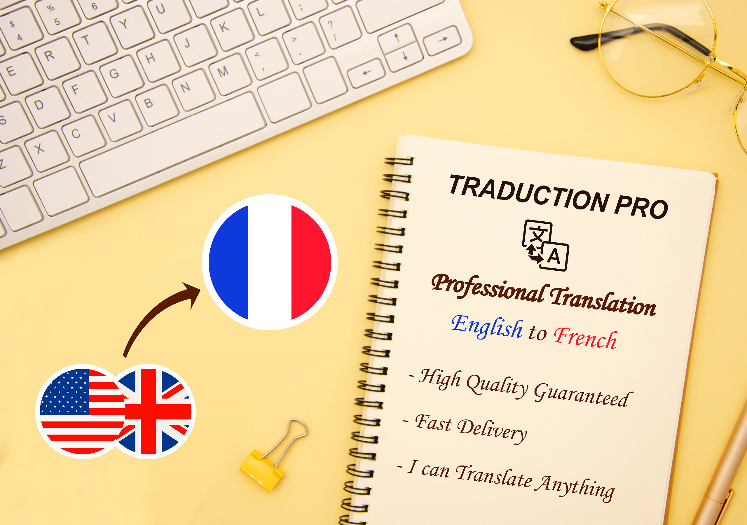 I will Do professional translation from English to French