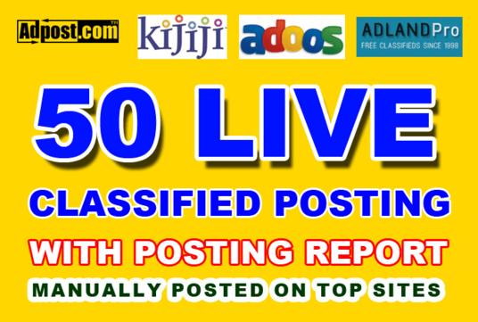Increase Your Sell - 30 Manually Build Classified Ads Posting on High Authority Sites