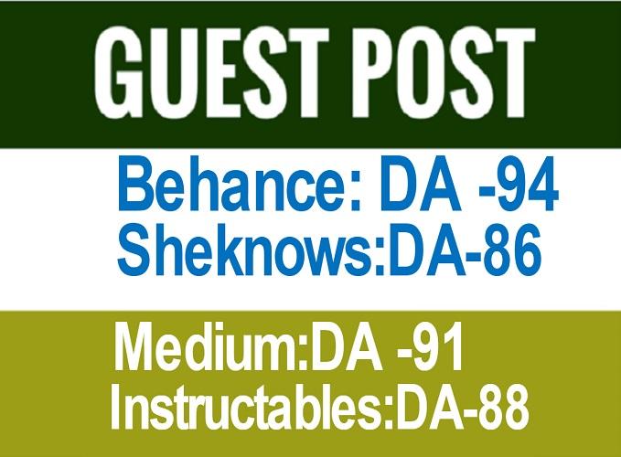 Publish Guest Post on Behance,  Medium,  bloglovin Cheap Rate
