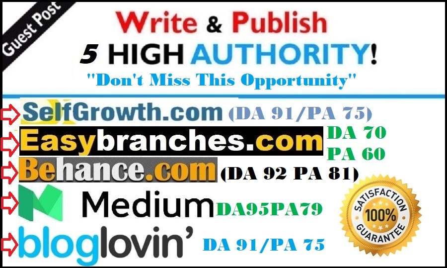 Write and publish guest post on 5 high DA PA do Authority sites