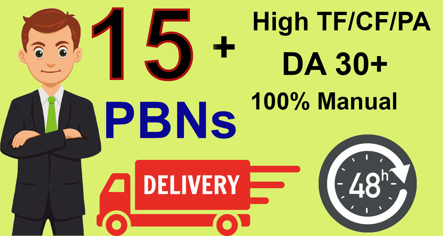 Get Homepage Dofollow 15+ PBN Backlinks With High DA 30+ And High PA/TF/CF