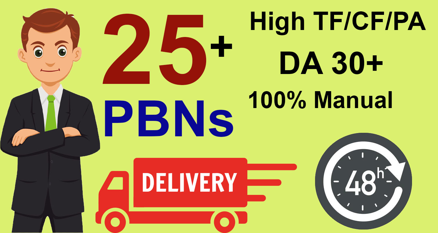 Get Homepage Dofollow 25+ PBN Backlinks With High DA 30+ And High PA/TF/CF