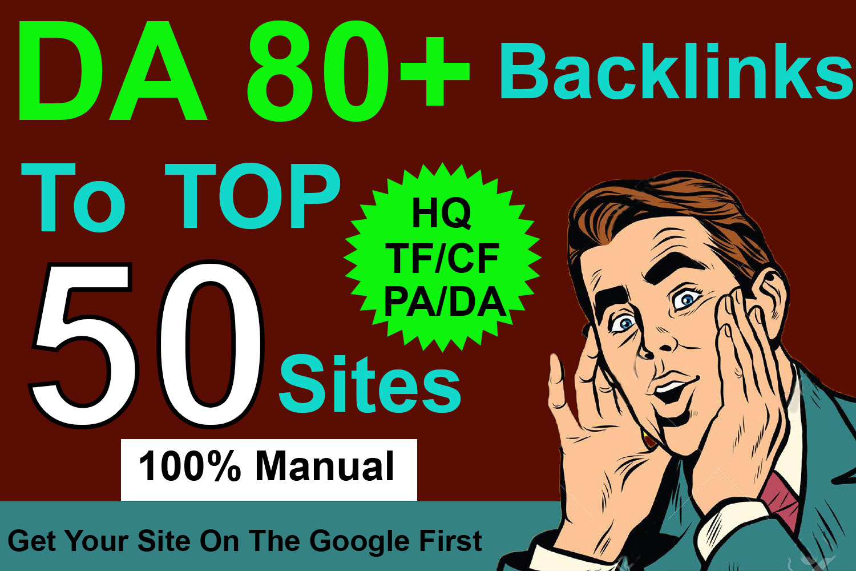Get Your website Rank On google by Manual High Authority DA 80+ Powerful 50 Backlinks