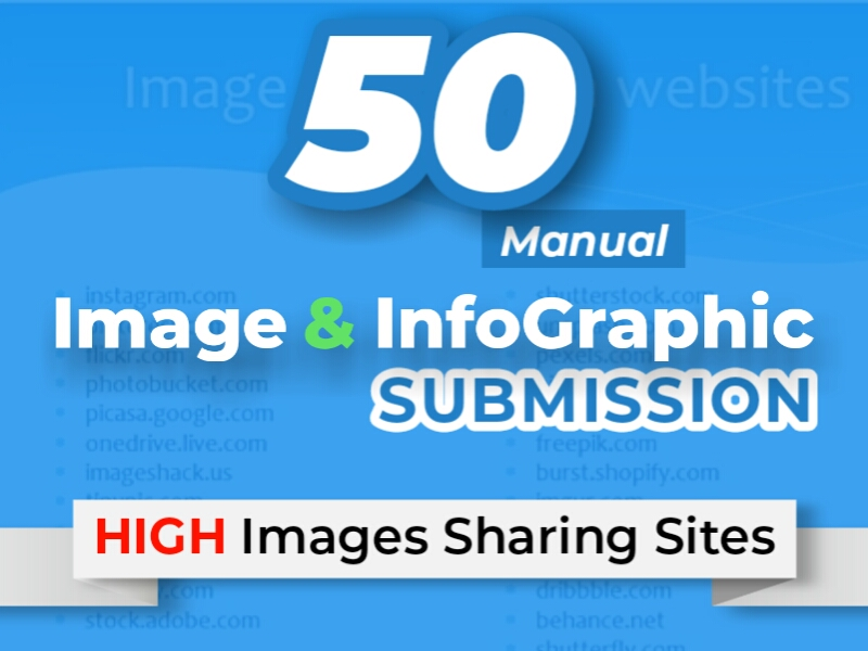 Manually submit image or infographic to 10 image submission sites.