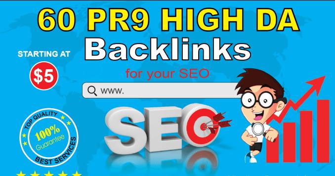 60 Backlinks 40 PR9 with 20 Edu Gov Backlinks for Youtube,  Blog,  Website etc.