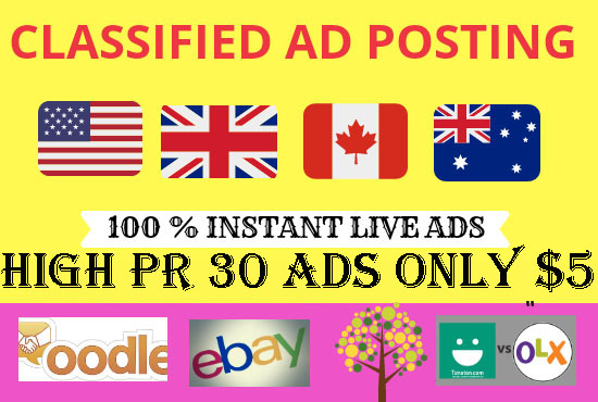 Increase Your Sell 30 Manually High Authority classified ads posting sites top rangking