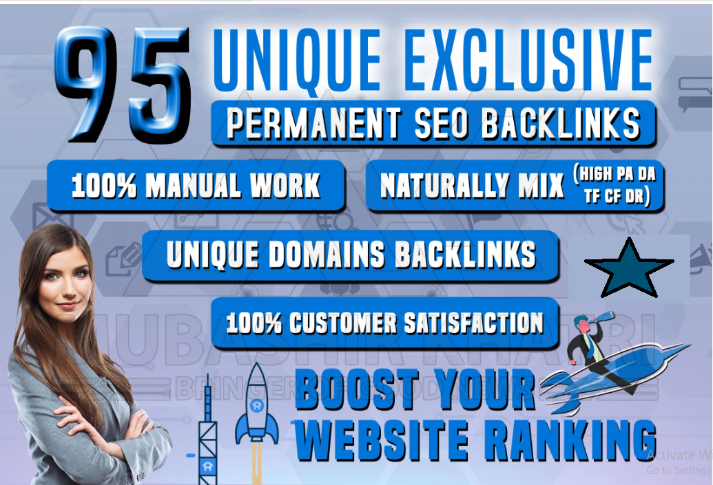manually do 95 unique exclusive permanent SEO backlinks