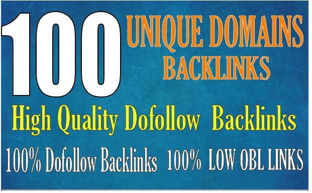 I will do 100 dofollow unique domain backlinks high da pa low obl