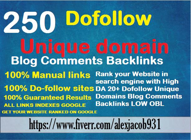 I will 250 dofollow blog comments backlinks high da pa tf cf