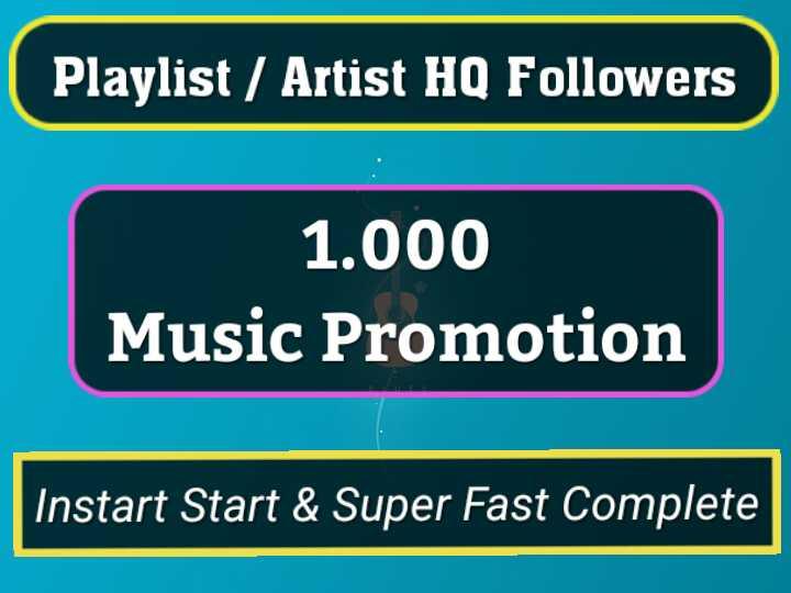 Get Instant 1000 Genuine Profile Playlist Music Followers