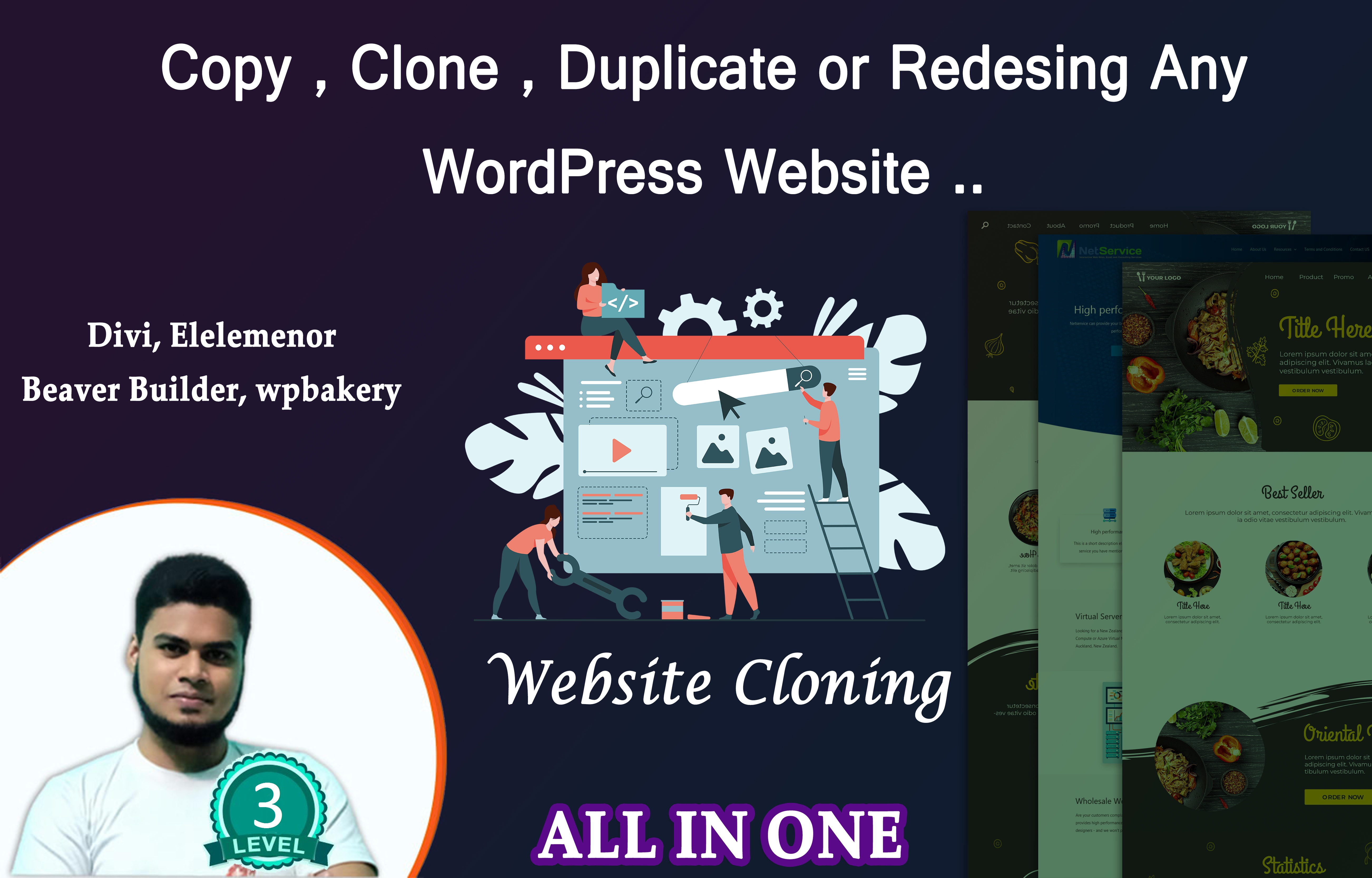 I will copy clone redesign any website design