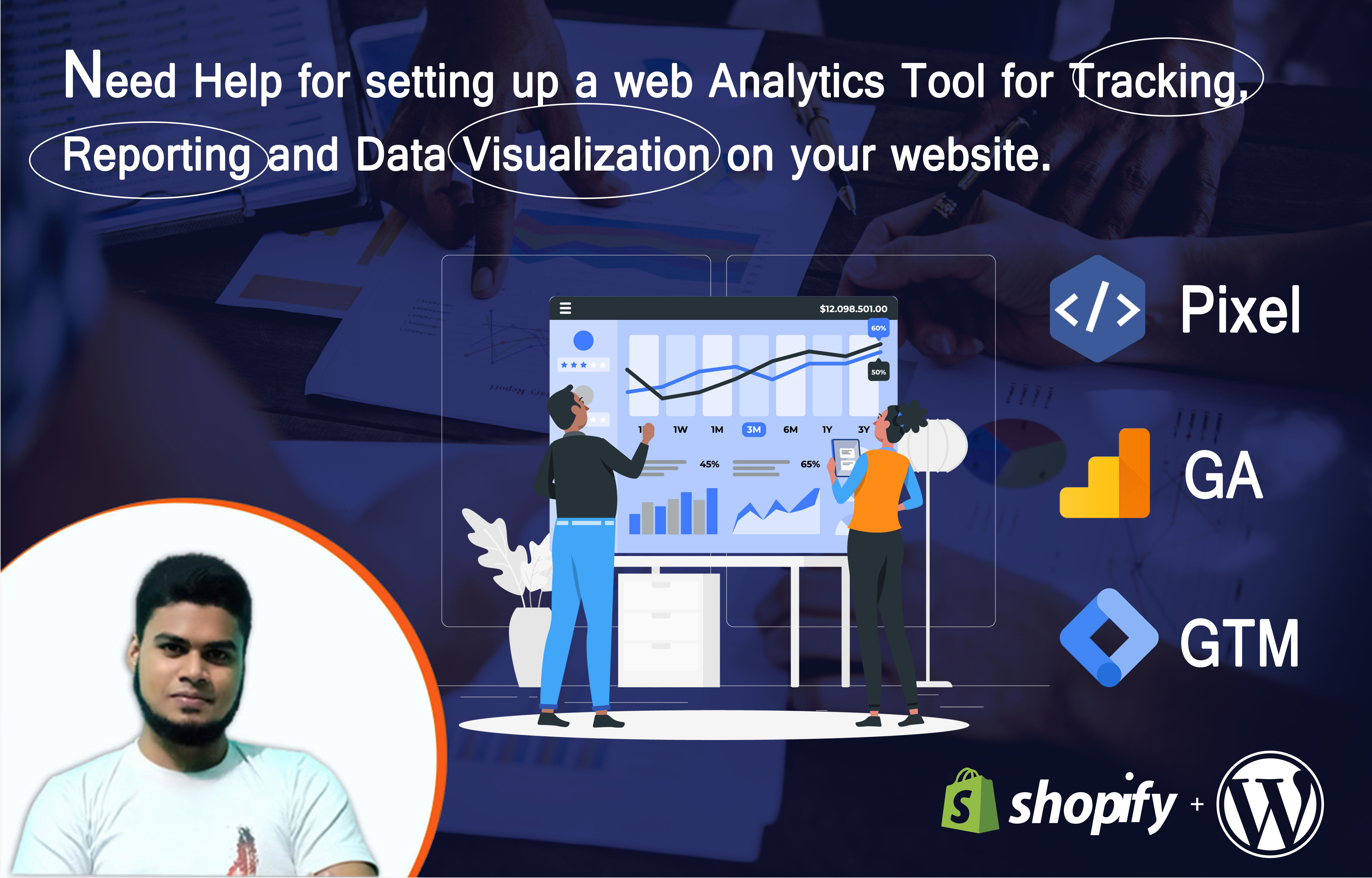 I will setup facebook pixel, google analytics and GTM