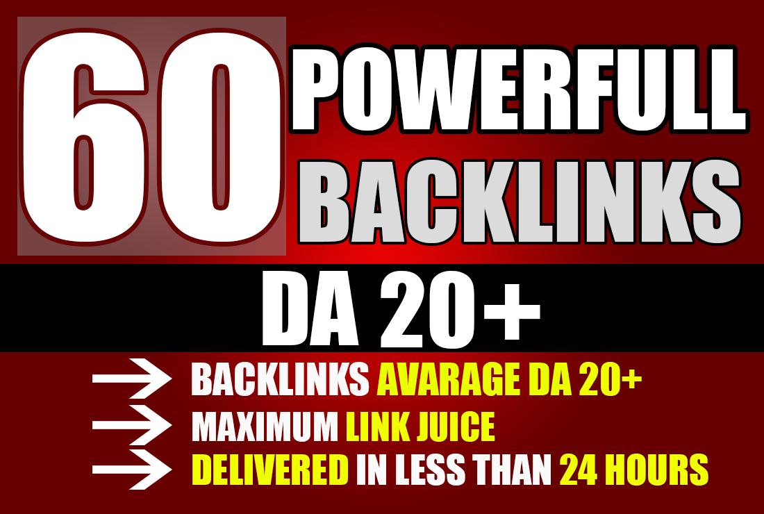 Rank with 60 DA 20+ Powerfull PBN backlinks