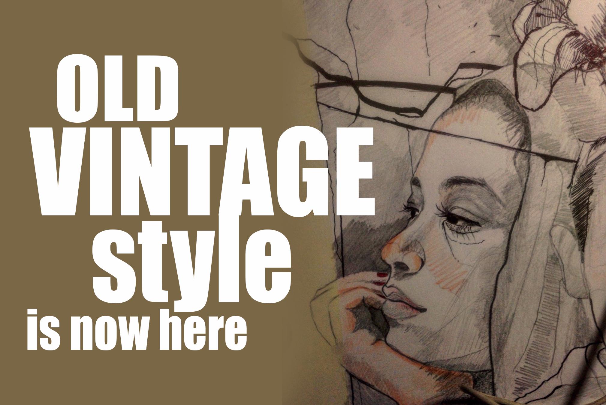 vintage artistic pencils portrait