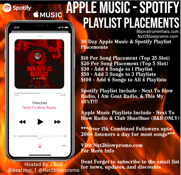 Playlist Placements add 1 song to active playlist organically boost streams & fans