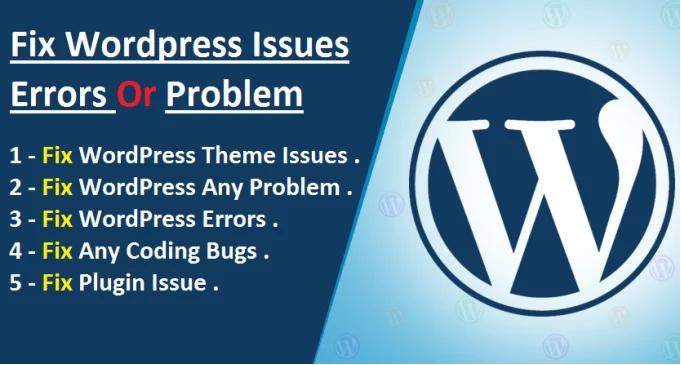 Fix wordpress issues,  errors,  bugs, malware etc