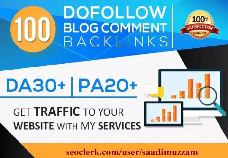 Create 100 Dofollow Blog Comment Back Links Da30 Pa20