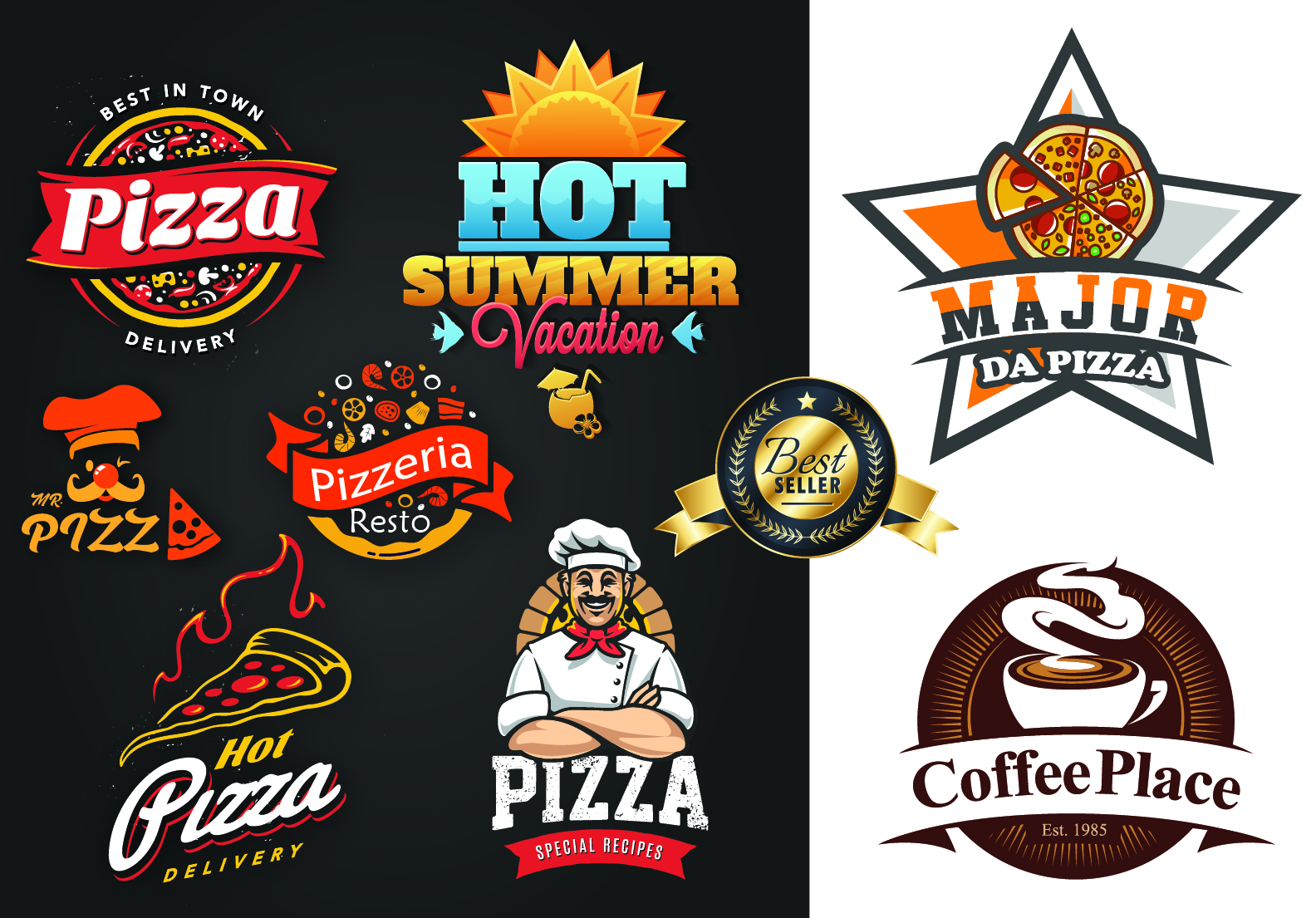 I will do food, pizza, bar, cafe, bbq, burger grill and restaurant logo