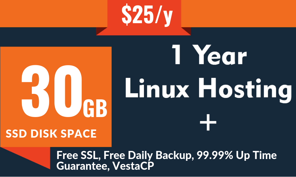 One Year Cloud VPS Linux Hosting 30GB SSD