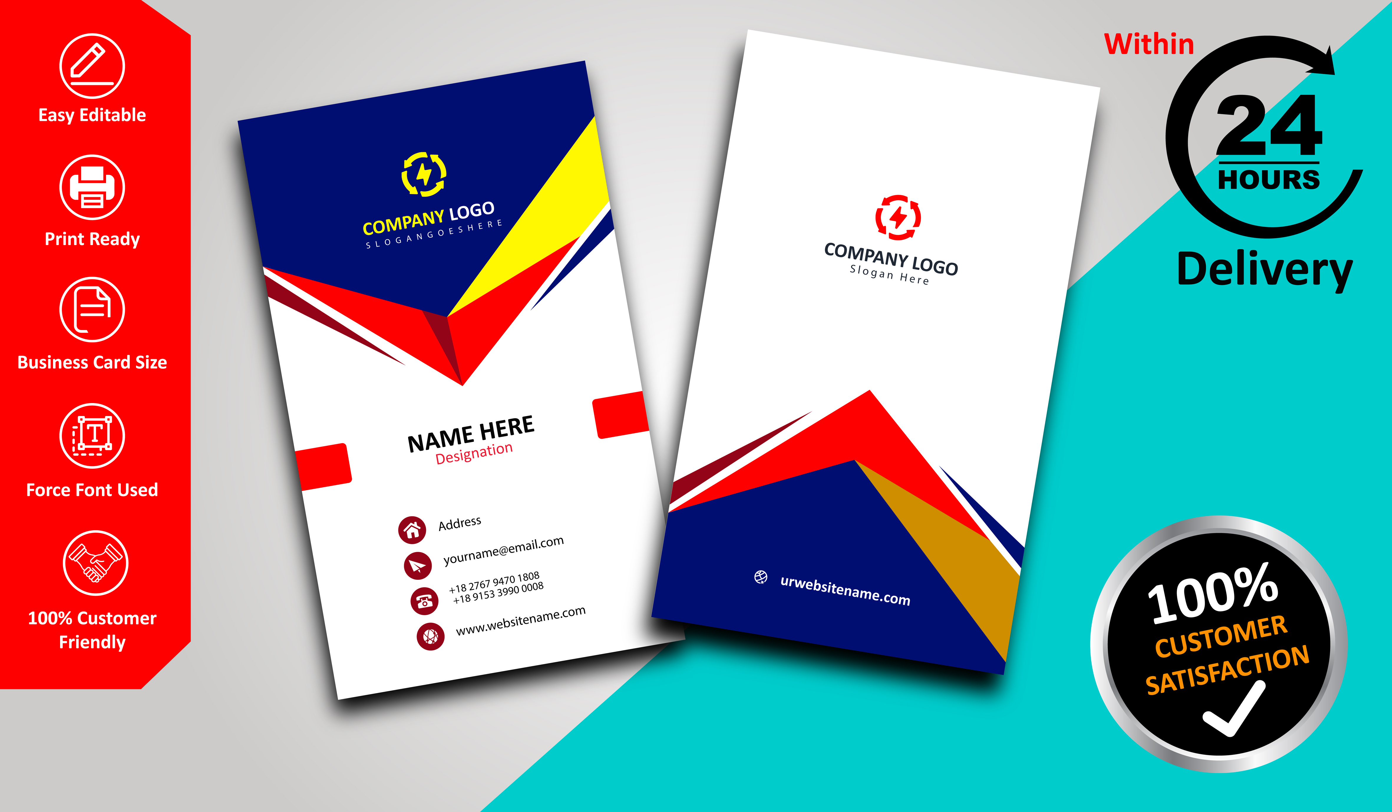 Provide You Professional Business Card Within 24 Hrs.