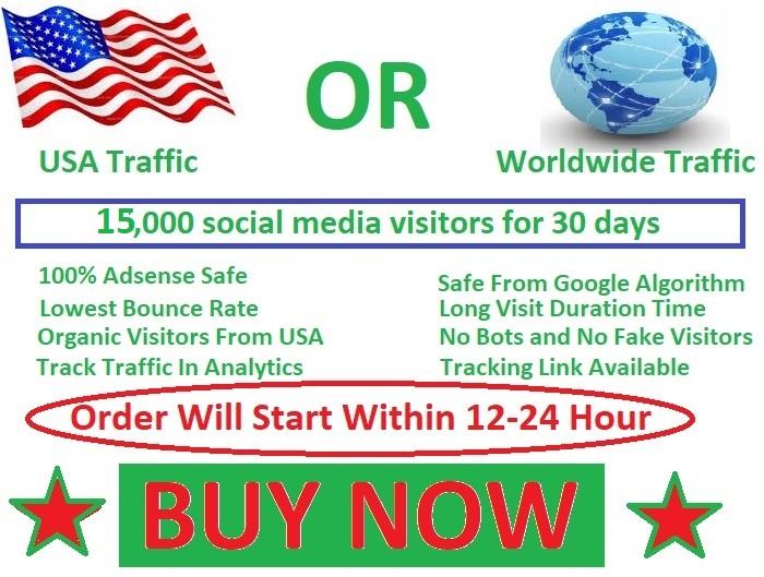 15,000 social media visitors guarantee 100 for 20 days