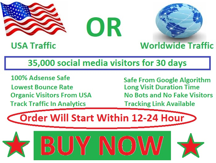 35,000 social media visitors guarantee 100 for 30 days