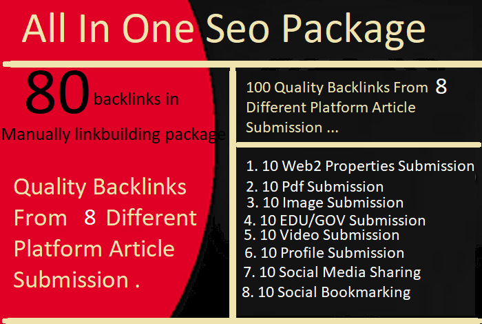 80 All In One Manual SEO Link Building From 8 Different Platform Article Submission Package
