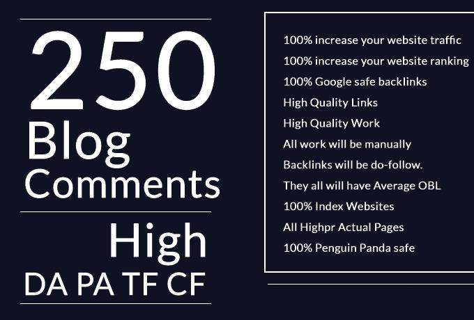 Do 250 Dofollow Blog Comments High Da Pa