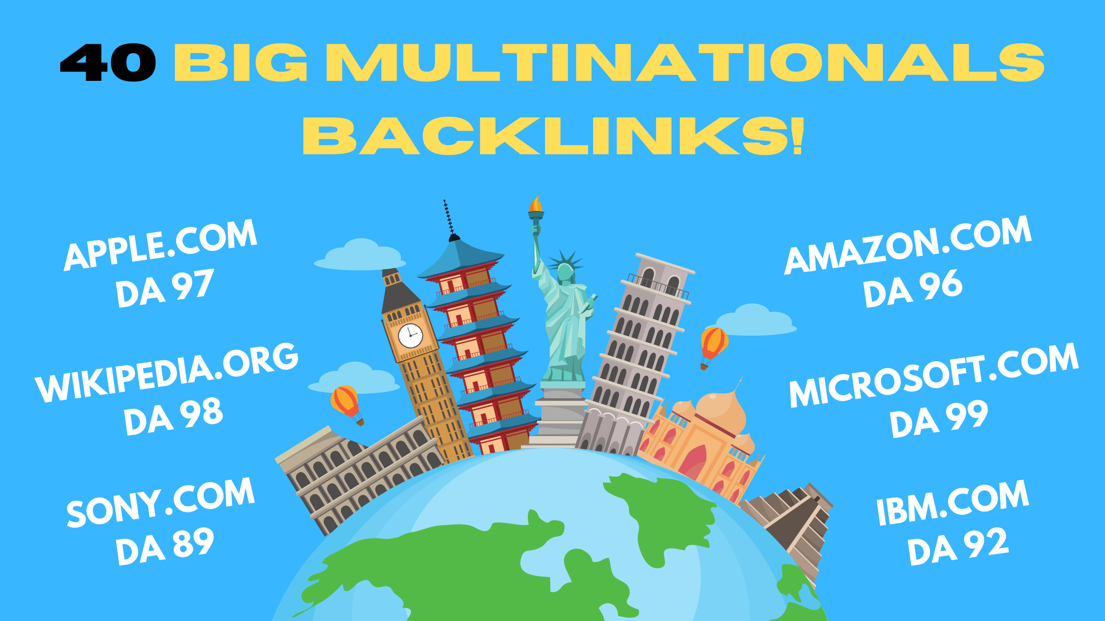 40 Big Multinationals Backlinks Apple,  Sony,  Microsoft,  Wikipedia,  Lenovo,  etc.