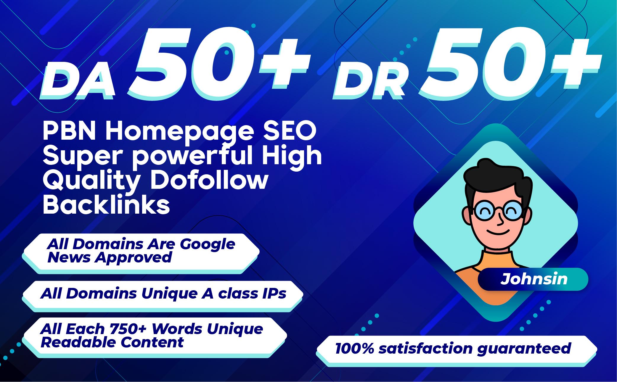 Homepage 100 PBN Backlinks High DA 50 To DR50 Plus Dofollow PBN Backinks
