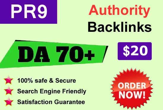 I wil create DA 70+ and PR9 Powerful SEO Backlinks