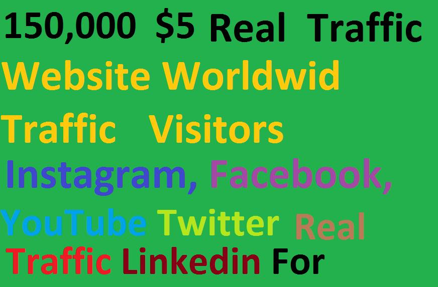 Real 150,000 Website Worldwide Traffic Visitors instagram Facebook, Youtube, twitter, Linkedin for