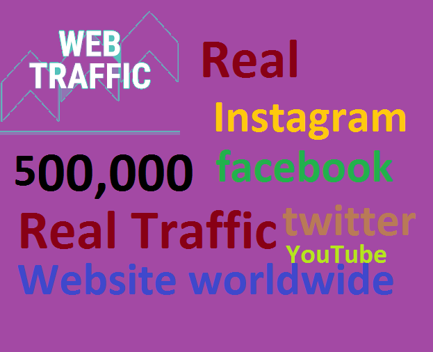 Real+500,000 Website Worldwide Traffic Google Bing Instagram Facebook twitter Youtube for