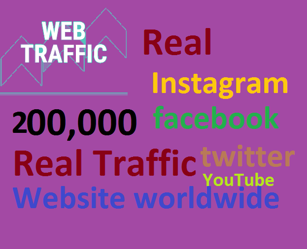 Real+200,000 Website Worldwide Traffic Google Bing Instagram Facebook twitter Youtube for