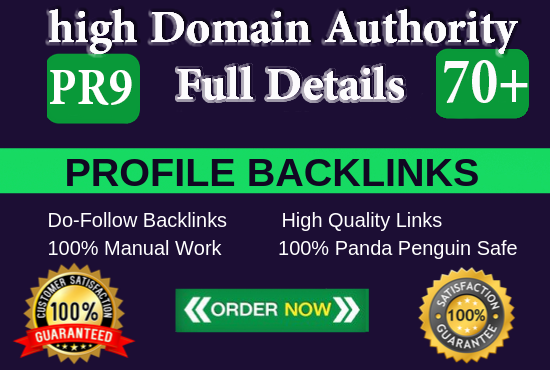 manually create pr9 da 70 + SEO dofollow backlinks profile