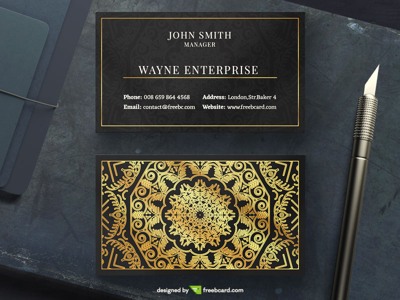 design your stationery and black and gold business card