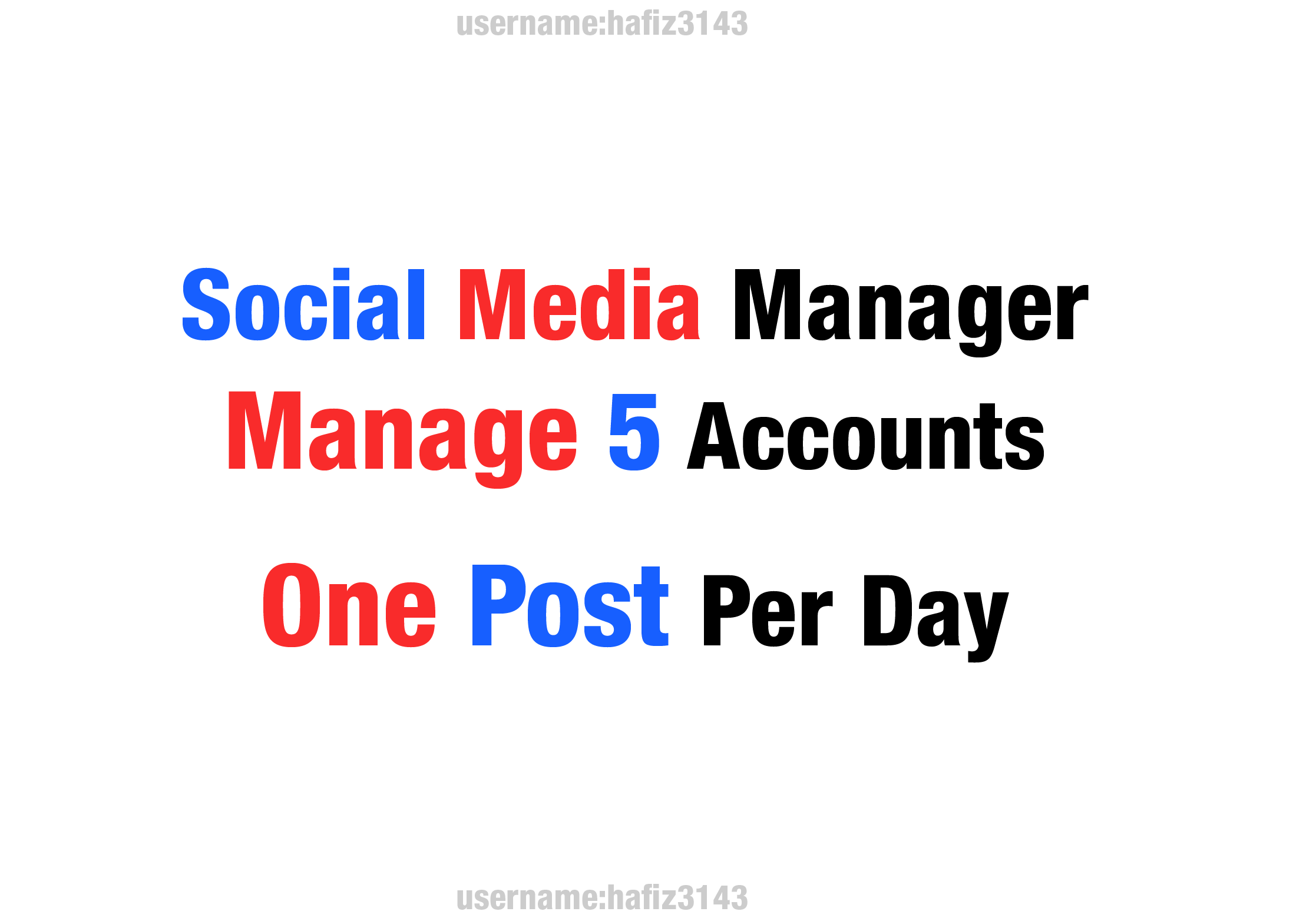 I will be your social media manager, Management of 5 social media Platform
