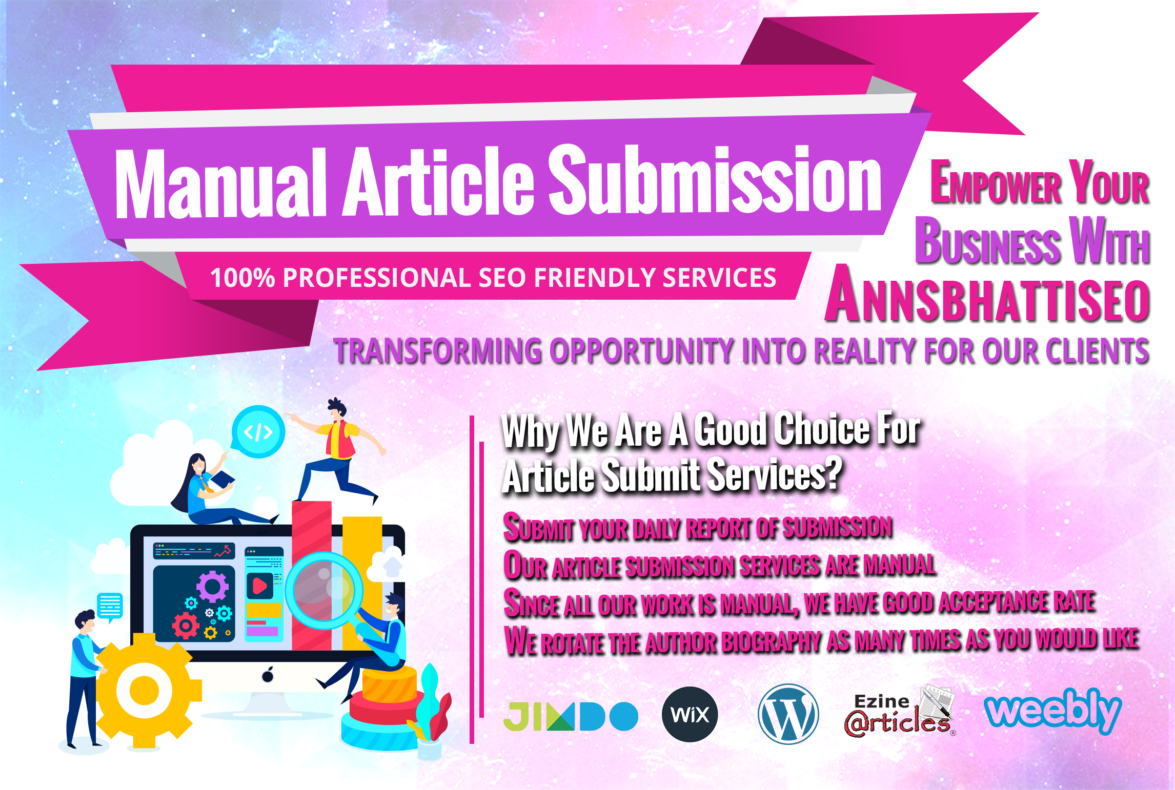 We do 25 Links 100 professional SEO friendly manual article submission services